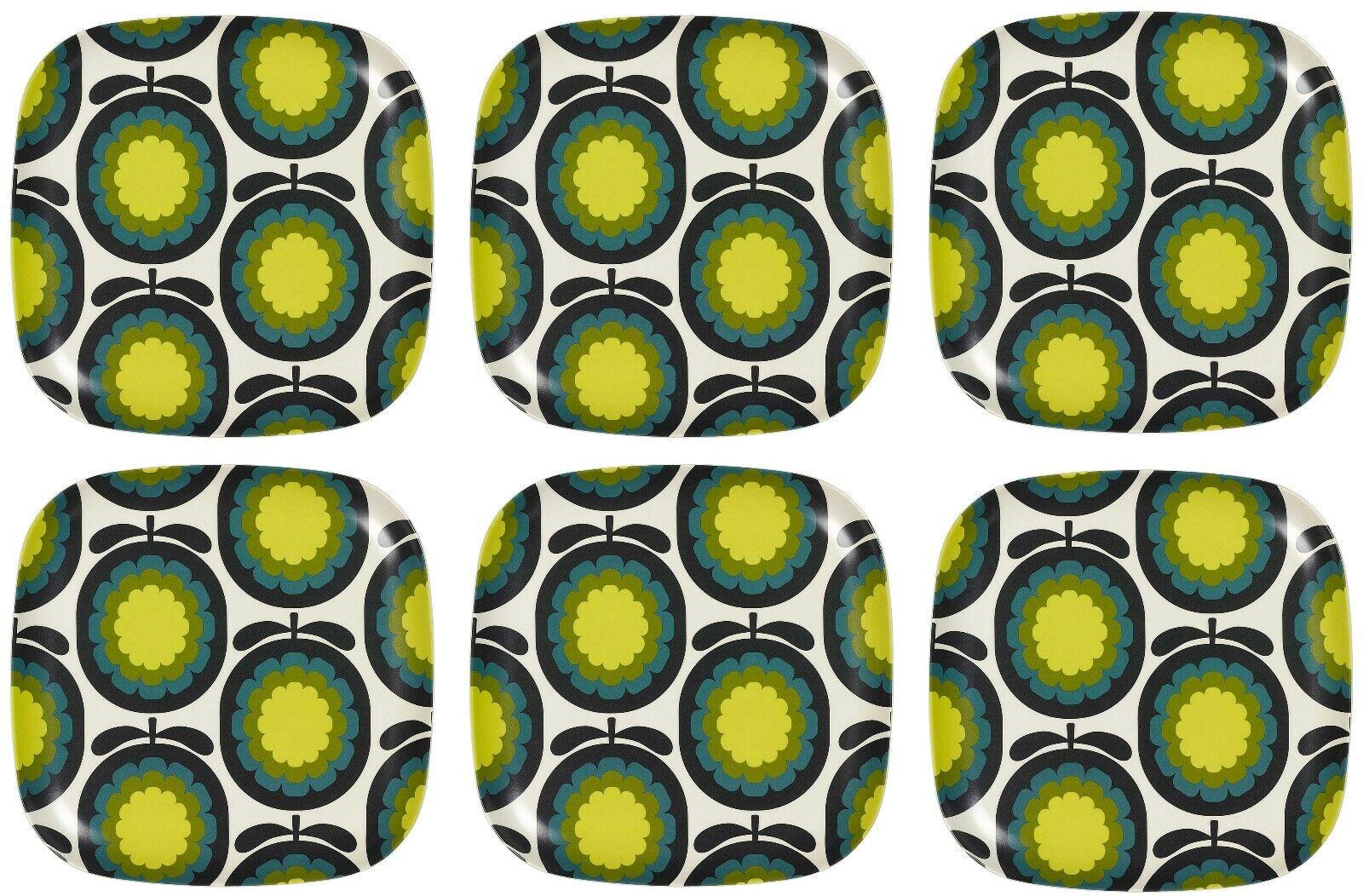 Orla Kiely Set de 6 Bambou grandes plaques-CANTALOUPE MELON marine-Neuf