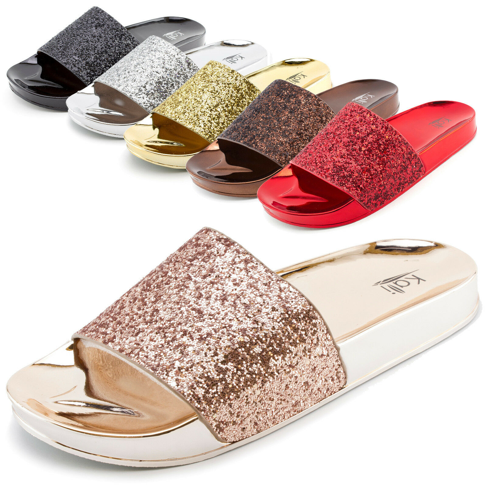 Kali Womens Wide Slide Glitter Band Slip On Slide Wide Sandals Star (Adults 6 7 8 9 10 11) 86a4af