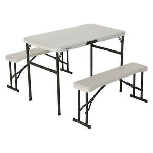 Image Is Loading Lifetime Portable Folding Picnic Camp Table Chair Bench
