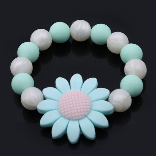 Silicone Teething Chewable Bracelets Teether BPA Free Flower Shape Toy N7