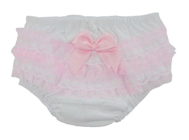 Baby Girls Cotton Pants Nappy Cover Organza Frills /& Satin Bow White //Pink 0-18m