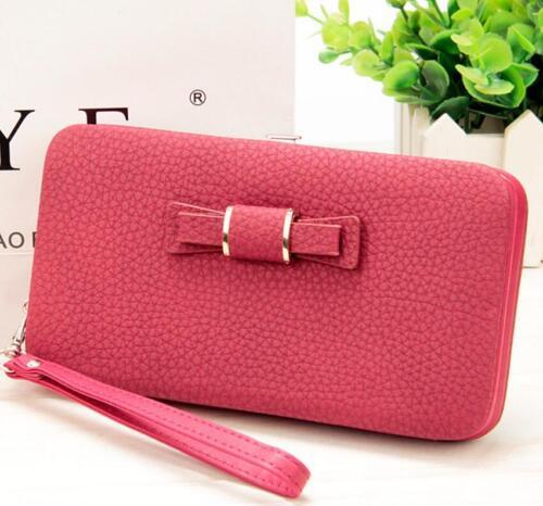 Women Purse Wallet Bow Card Holders Cellphone Pocket  Money Bag Clutch  Leather
