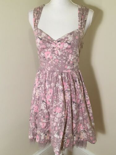 Anthropologie Lavender Floral Cotton Dress Small T