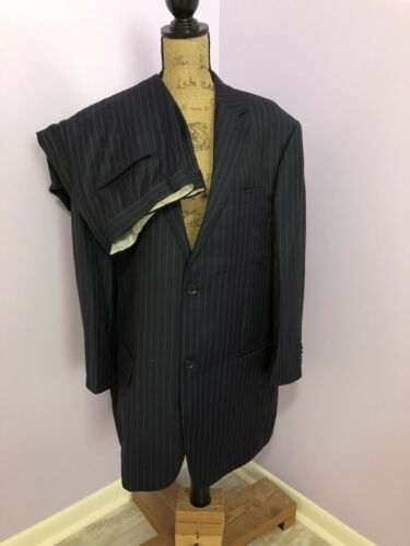 Mantoni Super 140's 2 Piece Suit Navy Pinstrip Jac