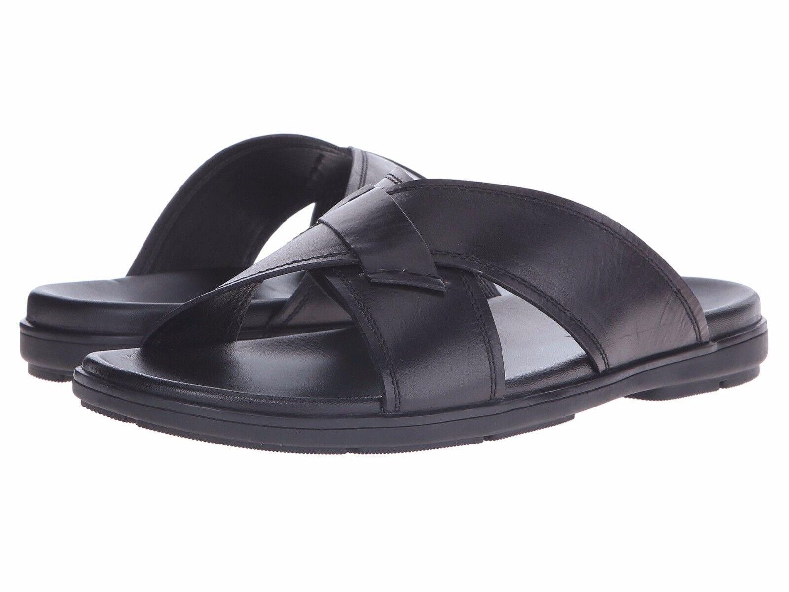 Men's shoes Kenneth Cole Lite N Up Leather Slide Sandals KMS6LE058 Black New