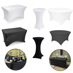 Noir-Blanc-Lycra-Spandex-equipee-stretch-Nappe-Couverture-De-Mariage-Banquet-Fete