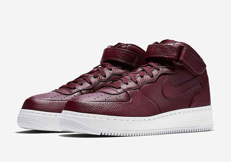 NIKELAB AIR FORCE 1 MID MAROON/WHITE MEN SIZE 10.5 NEW 819677 661