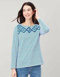 Joules-Womens-Harbour-Luxe-Long-Sleeve-Jersey-Top-Lemon-Cutout-Stripe