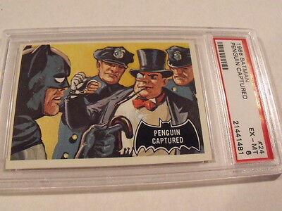 1966 Topps BATMAN Black Bat #24 Penguin Captured - PSA 6 EX-MT - High Grade