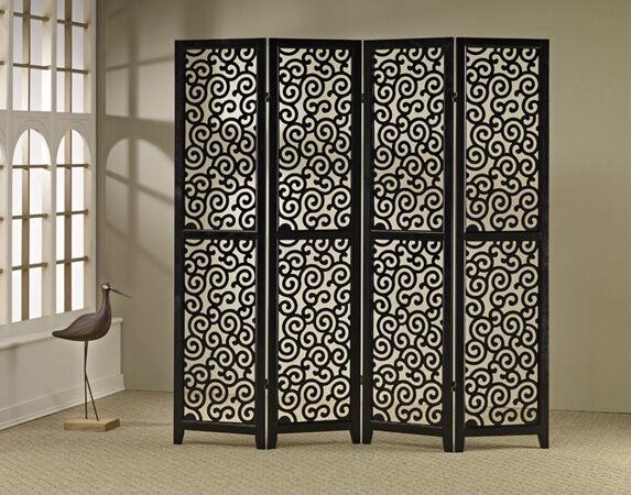 Brand New 3-panels double side-WOOD SCREEN wish SWIRL PATTERN- bianca- ASDI