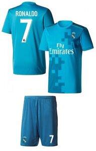 new arrival 0aee4 ce738 Details about Real Madrid Soccer Blue Third 3rd Jersey Shorts Ronaldo # 7  Uniform Kids Youth