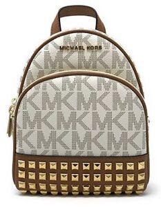 bcbb97a5c8d3 Michael Kors Abbey 35t7gayb0b XS Studded Signature Vanilla/acorn Backpack