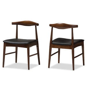 2x-Elbow-Style-Dining-Chairs-Danish-Mid-Century-Mod-Dark-Walnut-Solid-Wood-Frame