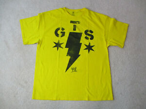 WWE-CM-Punk-Shirt-Erwachsene-Large-gelb-schwarz-WWF-Wrestling-Ringer-Herren