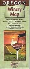 State of Oregon Winery Map, Willamette Valley, Columbia Gorge, Southern Oregon,