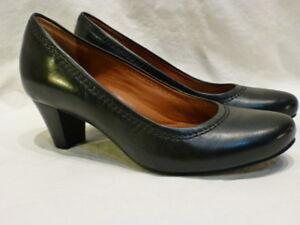 cb67b727c0b7 Clarks Black Leather Classic Pumps High Heels Slip Rana Womens Shoes ...