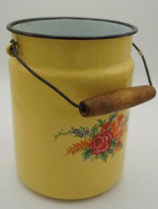 Vintage-Email-Milk-Jug-Bucket-Decor-Enamel-Retro-Flowers-Dots-50er-17