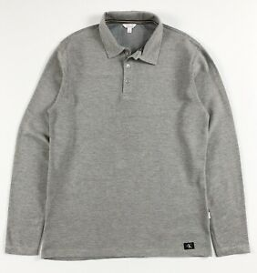 Calvin-Klein-Polo-Shirt-homme-Slim-Fit-a-manches-longues-gris-Waffle-Knit-Toison