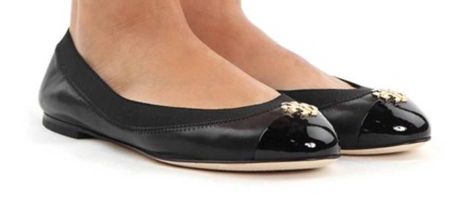 Tory Burch Napa Patent  Leather Jolie Ballet Flat shoes  US S.7.5 Black gold NIB