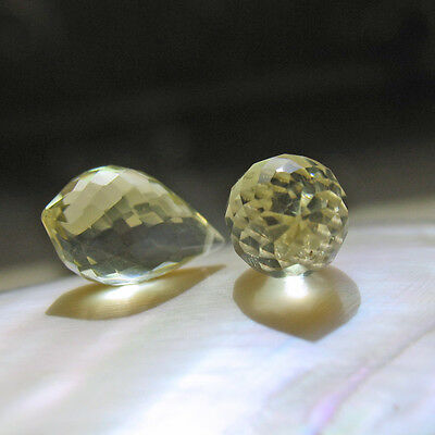 2 klare, facett. lemon quarz  chandelier  tropfen perle gebohrt ca. 14x8mm