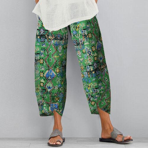 ZANZEA Women Elastic High Waist Pants Printed Floral Trousers Capris Plus Size