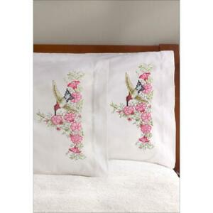 JANLYNN Premium Pillow Cases 2pk for Stamped Cross Stitch HUMMINGBIRD 1773