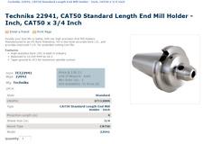 """Techniks CAT50 3//8/"""" Diameter x 4/"""" CoolBLAST End Mill Holder"""