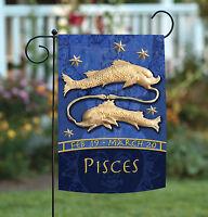Toland - Zodiac Pisces - Blue Astrological Horoscope Fish Garden Flag