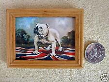 DOLLS HOUSE MINIATURE PICTURE British Bulldog & Union Jack Varnished Wood Frame