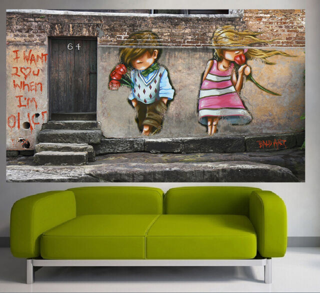 180cm x100 CANVAS PRINT street art PAINTING  I LOVE YOU NOT BANKSY ANDY BAKER
