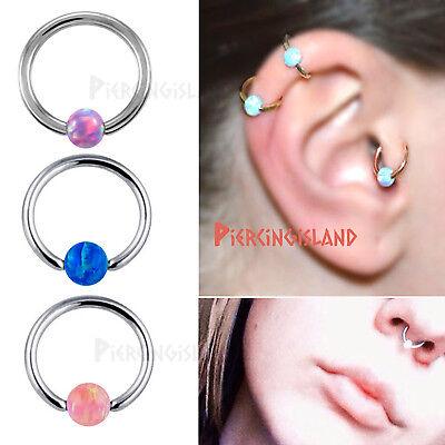Opal Captive Ball Bead Ear Cartilage Septum Nose Ring Hoop