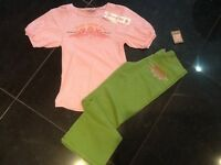 Juicy Couture Gen. Girls Age 8 Green Cotton Pants & T-shirt With Logo