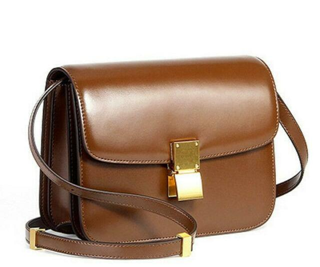 attractivefashion 60% discount modern and elegant in fashion Medium Small Classic Box Bag Genuine Leather Stewardess Cabin Crew Purse  Women t