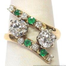 GIA Old Euro Diamond Natural Emerald 14k Gold Ring Ladies Vintage Bypass