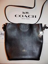 NWT COACH DERBY CROSSBODY BLACK PEBBLE LEATHER SWINGPACK BAG F58661 $225 AWESOME