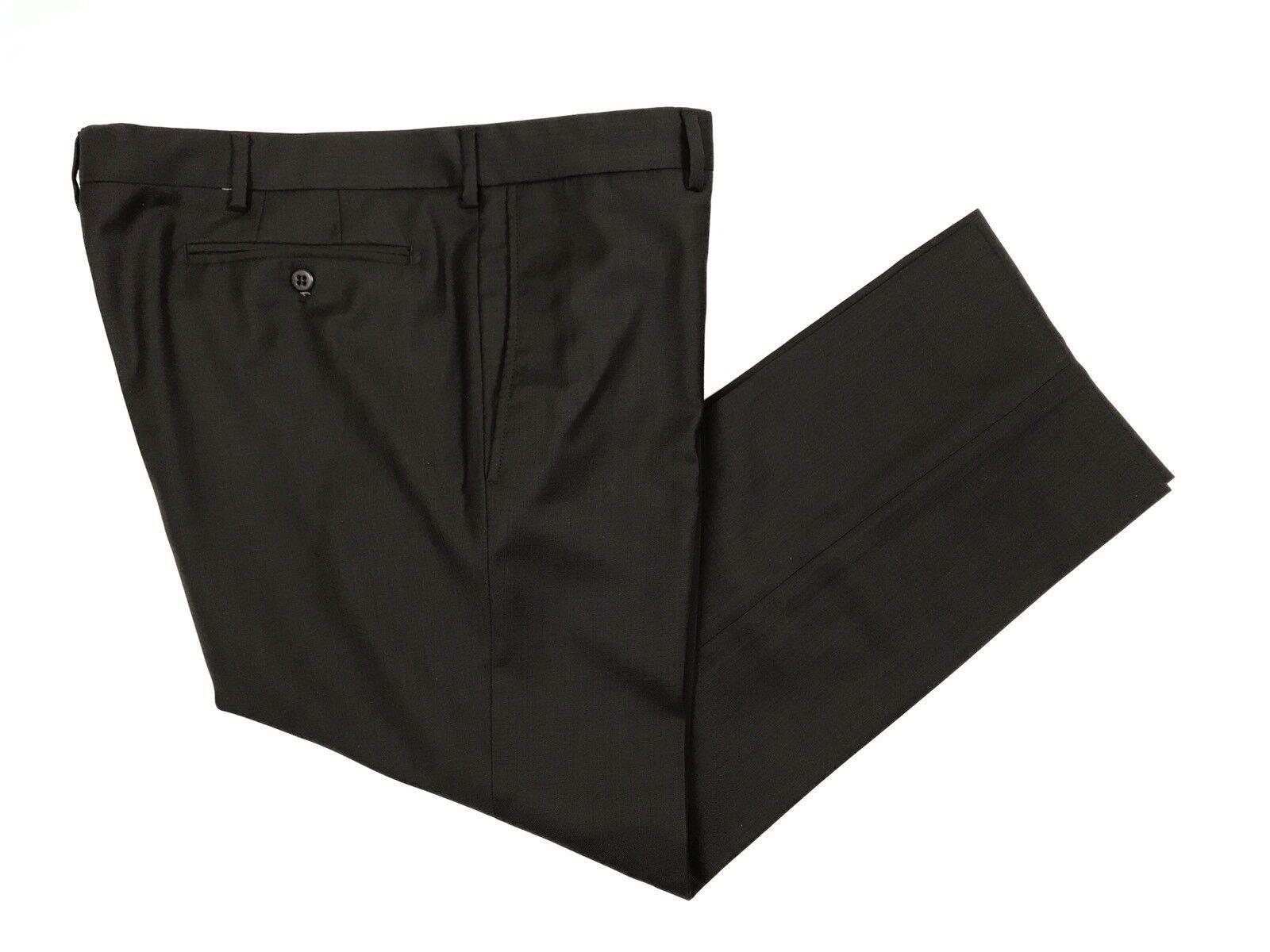 Zanella Men's Dark Brown Flat Front Slim Fit Devon Dress Pants 36W 27L