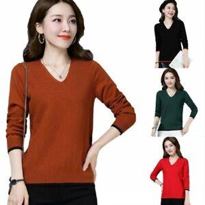 Autumn-Women-Ladies-Pullover-Sweater-V-Neck-Knitting-Slim-Keep-Warm-Tops-M-3XL-D
