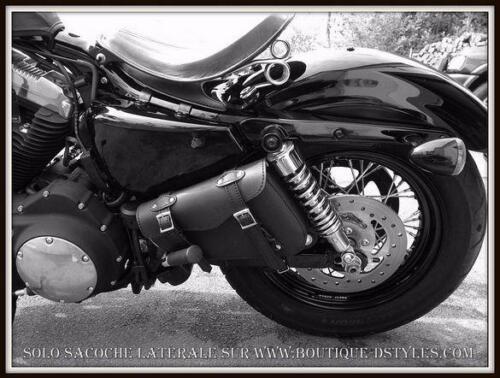 Sacoche latérale coté cadre rigide en Cuir moto custom 600 Shadow Coté DROIT