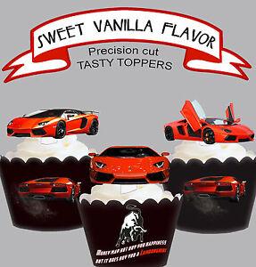 Exotic Car Racing Lamborghini Birthday Party Edible Cupcake Cake
