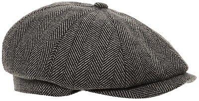 Mens Baker Boy Cap Peaked NewsBoy Hat Peaky Blinders Hat Gatsby Flat Cap Grey