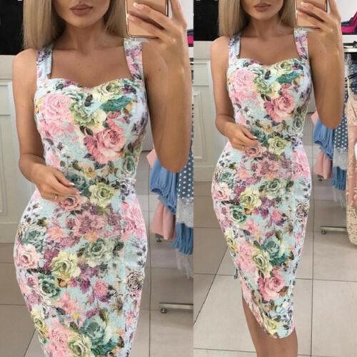 Womens Sundress Summer Beach Bodycon Ladies Floral Holiday Midi Dress Flower N7