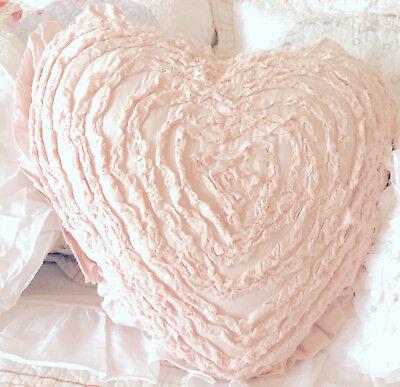 Hamptons Frilly Ruffles Baby Pink Heart Cushion Toss Sofa Girls Bed Pillow New