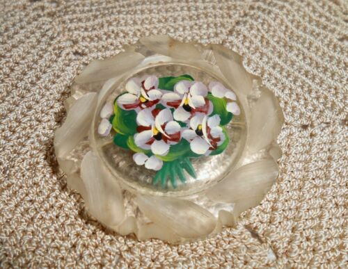 Vintage Carved &  Hand Painted Pansy Clear Lucite