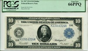 FR 947 1914 $10 Federal Reserve Note Dallas 66PPQ GEM NEW