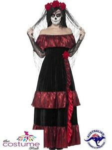 Day Of The Dead Bride Skull Spanish Dress Up Senorita Halloween Costume