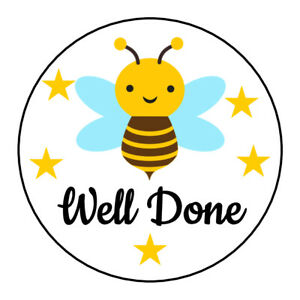 Well-Done-Cute-Bee-Sticker-Kids-Children-Reward-Chart-Teacher-Sweet-Cone-Parents