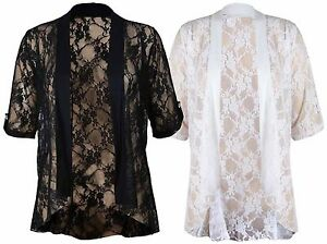 New-Ladies-Plus-Size-Floral-Lace-Open-Cardigan-Short-Sleeve-Womens-Waterfall-Top