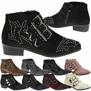 Liv-Womens-Flats-Low-Heels-Buckle-Strappy-Biker-Ankle-Boots-Ladies-Shoes-Studded