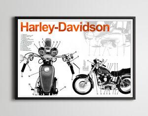 Harley Davidson Motorcycle Full-Size POSTER! - 24