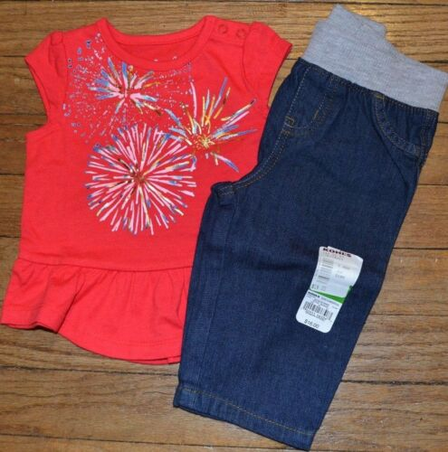 Jumping Beans 4th of July Outfit Red White Blue Top /& Jeans or Skirt 6 to 18 Mon